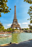 The Eiffel tower and Seine River, Paris Stock Image