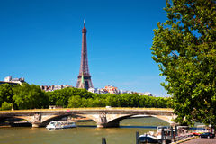 Eiffel Tower and Seine river, Paris, France. Stock Photography
