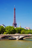 Eiffel Tower and Seine river, Paris, France. Stock Photos
