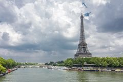 Eiffel Tower and Seine river, Paris, France royalty free stock photos