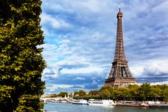 Eiffel Tower and Seine River, Paris, France Royalty Free Stock Image