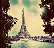 Eiffel Tower and Seine River, Paris, France. Vintage Stock Image