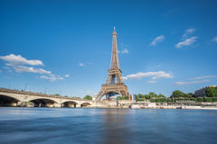 The Eiffel Tower and Seine River in Paris, France Stock Image