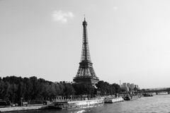Eiffel Tower at the Seine river shore, black and white Royalty Free Stock Image