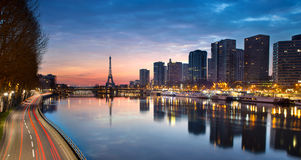 Eiffel tower and Seine river at sunrise, Paris - France Royalty Free Stock Photo
