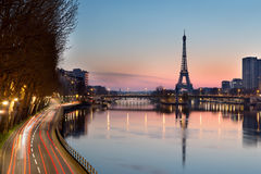 Eiffel tower and Seine river at sunrise, Paris - France Royalty Free Stock Photos