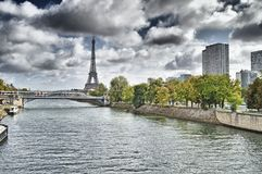 Eiffel Tower and Seine River. Royalty Free Stock Photos