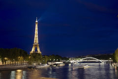 Eiffel tower from sena river Stock Photography