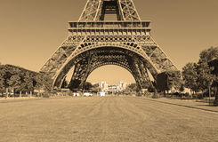 Eiffel Tower with sepia filter, Paris France Royalty Free Stock Images