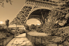 Eiffel Tower with sepia filter, Paris France Royalty Free Stock Photography
