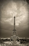 Eiffel tower sepia toned Stock Photography