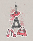 Eiffel Tower, shoes and handbag Royalty Free Stock Images