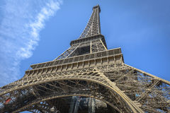 Eiffel Tower shot from a low angle from one of the pillars Royalty Free Stock Photos