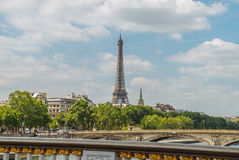 Eiffel Tower. Shot from The Pont alexander III , Paris Royalty Free Stock Photo