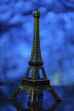 Eiffel tower shot in studio with bokeh lights in backgound Stock Photography