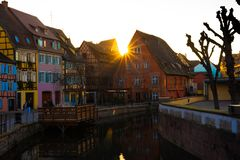 Colmar Sunset with Colorful Houses stock photography