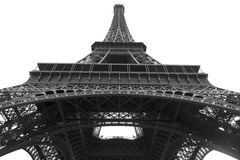 Eiffel tower sight from the low in black and white Stock Photos