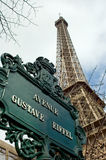 Eiffel Tower and sign, Paris, France Stock Photography