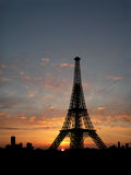 Eiffel Tower silhouette. Over sunset Stock Image