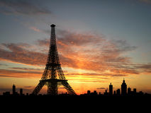 Eiffel Tower silhouette. Over sunset Stock Photo