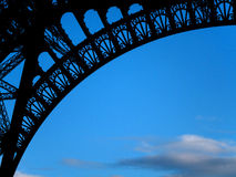 Eiffel Tower Silhouette. Silhouette of the Eiffel Tower against a clear blue sky Royalty Free Stock Image