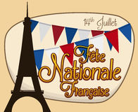Eiffel Tower Silhouette and Buntings for French National Day, Vector Illustration Royalty Free Stock Photography