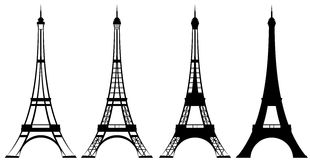 Eiffel tower. Silhouette and outline design set - tourism and sightseeing in france