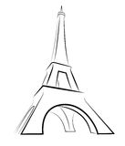 Eiffel Tower. Simplified Sketch isolated on white Royalty Free Stock Photos