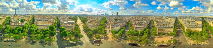 Eiffel Tower 360 skyline. Paris 360 degrees skyline panorama from top of Arc de Triomphe on Champs Elysees street.Tour Eiffel tower, Basilica of the Sacred Heart Royalty Free Stock Image