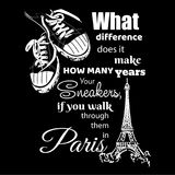 Eiffel tower and sneakers. Black and white drawing Stock Photography