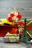 Eiffel tower souvenier and gift on the christmas and new year stock photo