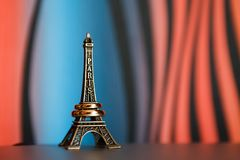 Eiffel tower souvenir with rings on it Royalty Free Stock Image