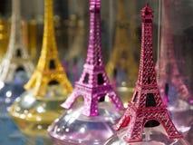 Eiffel tower souvenirs. Eiffel tower Tour de Eiffel souvenirs for selling in a souvenir shop in Paris, France Royalty Free Stock Image