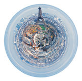 Eiffel tower and spherical panorama of Paris Royalty Free Stock Photography