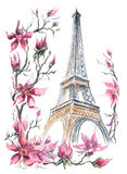 Eiffel Tower. With spring flowers (collage). Watercolor Stock Photos