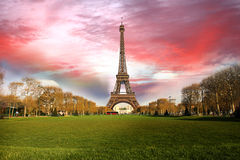 Eiffel Tower in spring time, Paris, France Royalty Free Stock Images