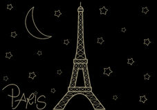 Eiffel tower in the starry night cute romantic background illustration Royalty Free Stock Image