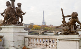 Eiffel Tower Through Statues Royalty Free Stock Image