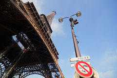 Eiffel Tower and street lamp Stock Photo
