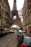 Eiffel Tower on the street in Paris Royalty Free Stock Photos