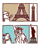 Eiffel tower & Sttue of liberty Royalty Free Stock Photos