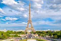 The Eiffel Tower on a summer day in Paris Stock Photography