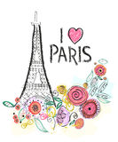 Eiffel tower and summer flowers. i love paris hand drawn letter vector illustration greeting card Stock Image