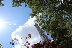 Eiffel tower in the sun stock images