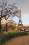 Eiffel Tower in sun rays just before sunset Royalty Free Stock Photo