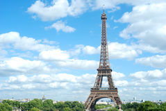 Eiffel tower sunny day Stock Photography
