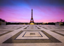 Eiffel tower sunrise. Sunrise looking out over the eiffel tower Royalty Free Stock Photo
