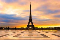 Eiffel tower at sunrise, Paris. Stock Photos