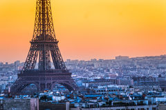 Eiffel tower at sunrise, Paris. Royalty Free Stock Images