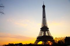 Eiffel tower sunrise Stock Photography